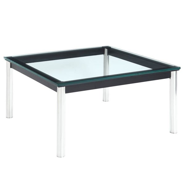 Le Corbusier Traditional Black Steel Glass LC10 End Table EEI-571-BLK