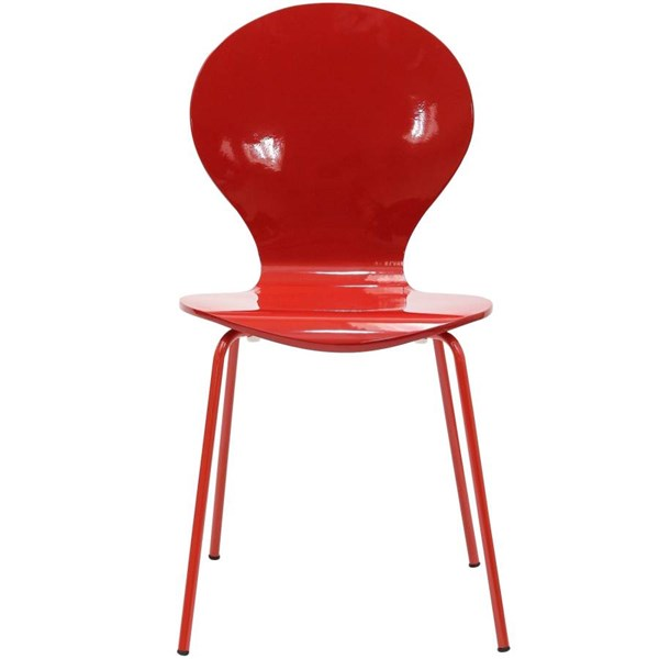 Red Oak Plywood Seat With Aluminium Legs Insect Dinette Chair EEI-574-RED
