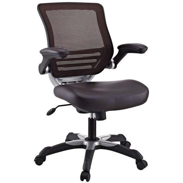Edge Standard Brown Vinyl Metal Adjustable Height Office Chair EEI-595-BRN