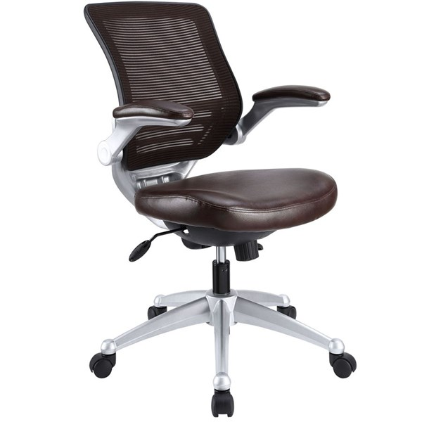 Edge Brown Leather Wood Adjustable Height Office Chair EEI-597-BRN