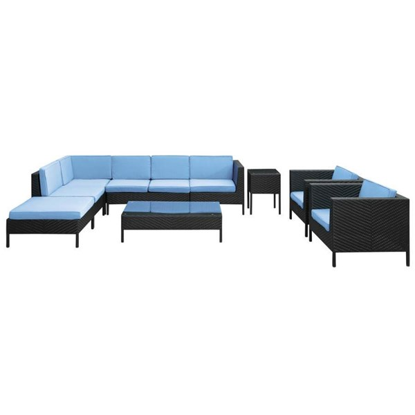 Synthetic Rattan Weave W/Cushion La Jolla 10pc Sectional Set EEI-614 EEI-614