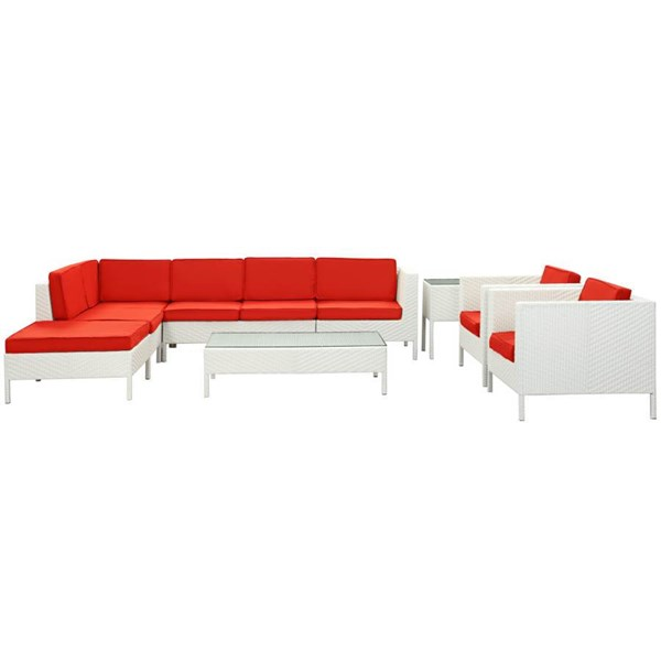 La Jolla White Red Fabric PE Rattan 9pc Outdoor Sectional Set EEI-614-WHI-RED-SET