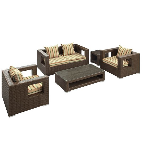 Synthetic Rattan Weave With Cushion Lunar 5pc Outdoor Sofa Set EEI-619