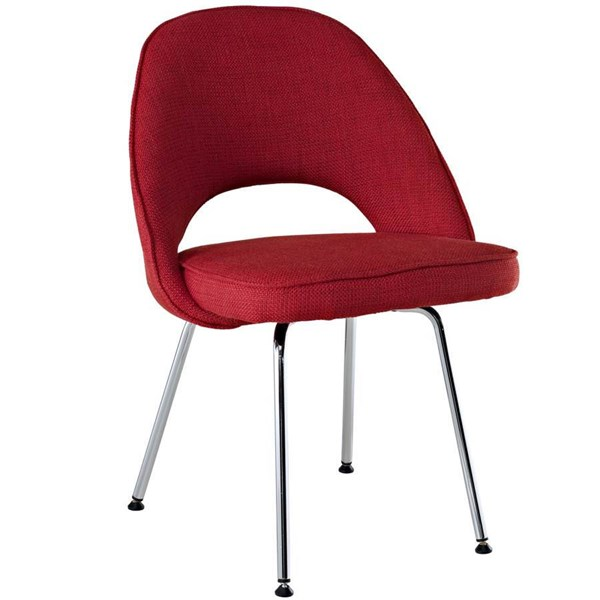 Red Chromed,Cotton Cordelia Dinette Chair EEI-622-RED EEI-622-RED