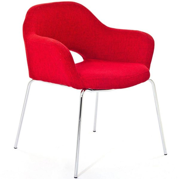 Red Cotton With Chromed Legs Cordelia Dinette Chair EEI-623-RED EEI-623-RED