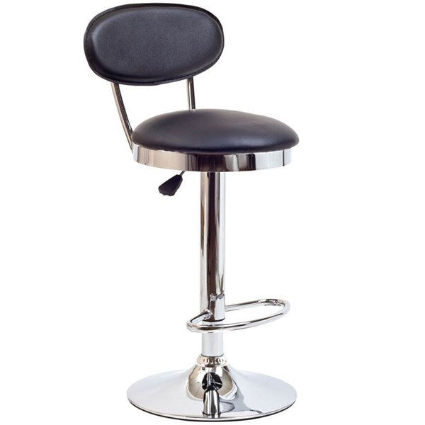 Padded Vinly Wave Seat & Back With Polished Chrome Retro Bar Stool EEI-636