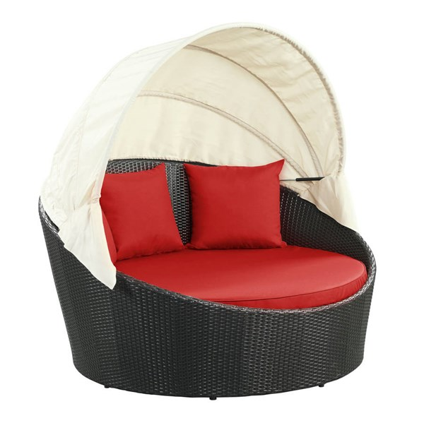 Modway Furniture Siesta Red Outdoor Patio Canopy Daybed EEI-642-EXP-RED