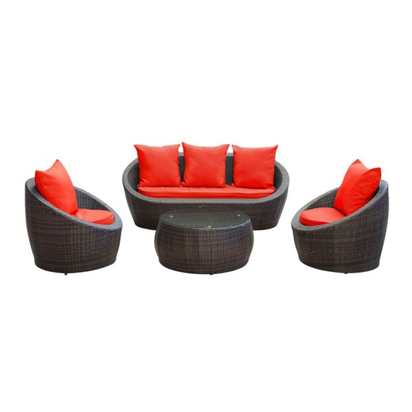 Brown Synthetic Rattan Weave W/Red Sponge-Cushion Avo Sofa Set EEI-643-BRN-RED-SET