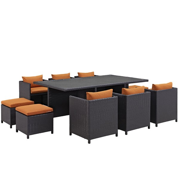 Modway Furniture Reversal Espresso Orange 11pc Outdoor Dining Set EEI-644-EXP-ORA-SET