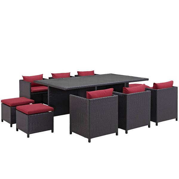 Modway Furniture Reversal Espresso Red 11pc Outdoor Dining Set EEI-644-EXP-RED-SET