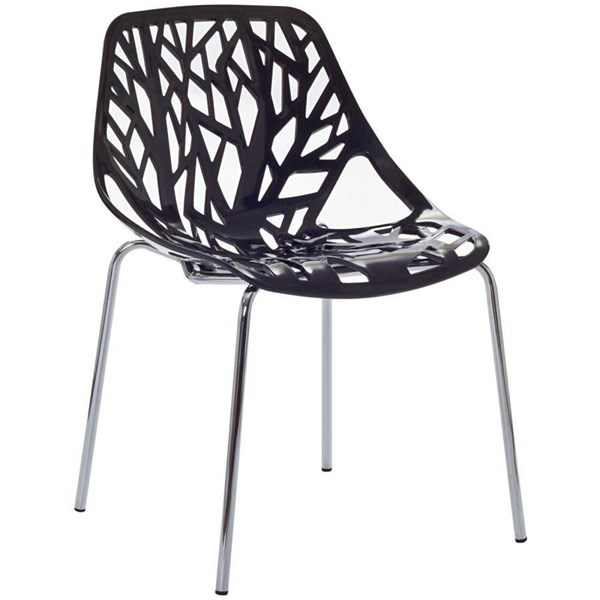Stencil Modern Black PP Plastic Chrome Dining Side Chair EEI-651-BLK