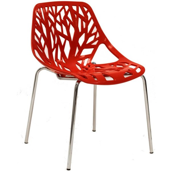 Stencil Modern Red PP Plastic Chrome Dining Side Chair EEI-651-RED