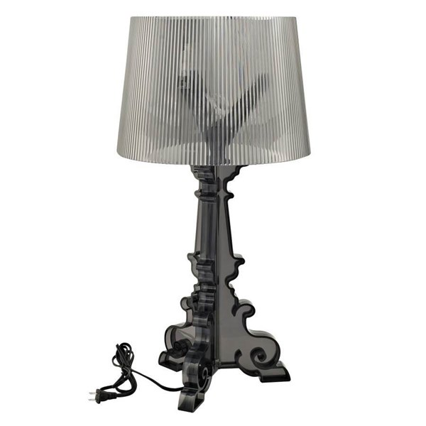 French Grand Modern Black Acrylic Shaded Table Lamp EEI-666-BLK