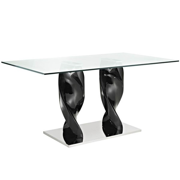 Frp Plastic With Stainless Steel & Tempered Glass Quarry Dining Table EEI-677