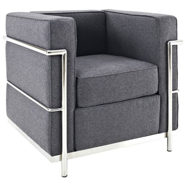 Dark Gray Wool Cloth & Foam With Stainless Steel Lc2 Armchair EEI-696-DGR