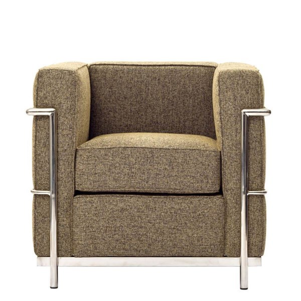 Oatmeal Wool Cloth & Foam With Stainless Steel Lc2 Armchair EEI-696-OAT