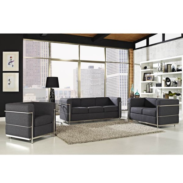 Dark Gray Wool Cloth & Foam With Stainless Steel Lc2 Living Room Set EEI-696-7-8-SET