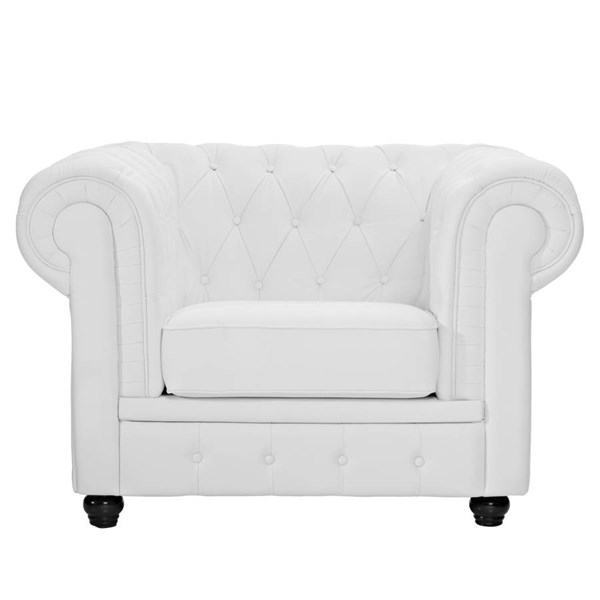 White Catalpa Wood Legs With Leather Chesterfield Armchair EEI-699-WHI