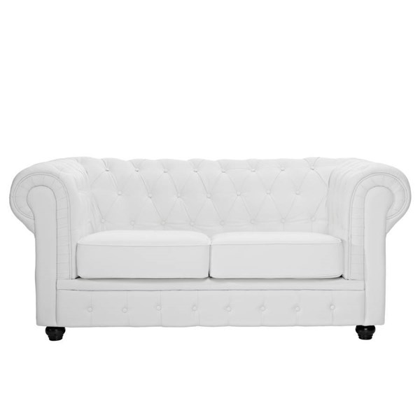White Foam & Wood Legs With Leather Chesterfield Loveseat EEI-700-WHI