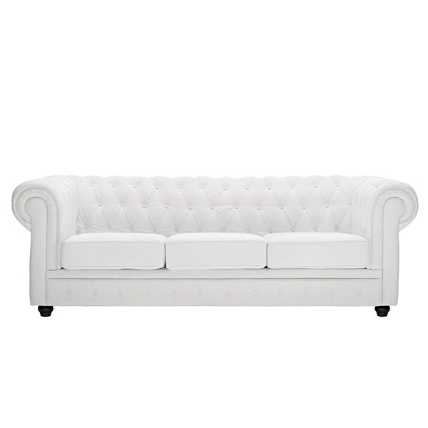 Chesterfield White Leather Solid Wood Sofa EEI-701-WHI