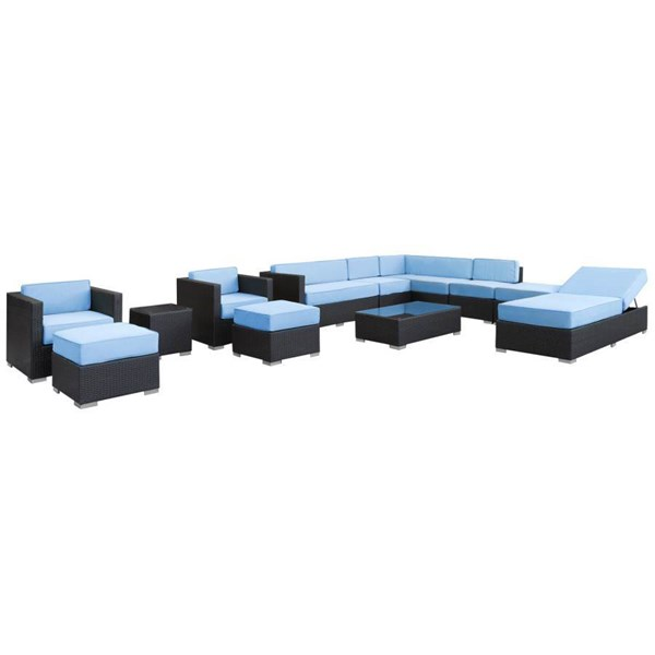 Synthetic Rattan Weave With Cushion Fusion 12pc Sectional Set EEI-722