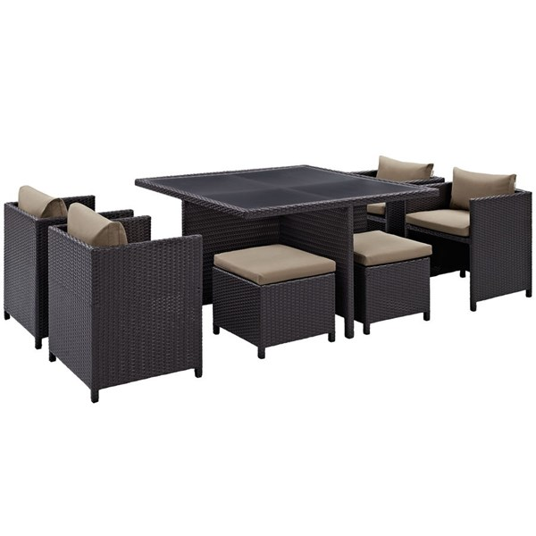 Inverse Mocha Fabric Synthetic Rattan 9pc Outdoor Patio Dining Sets EEI-726-OD-DS-VAR
