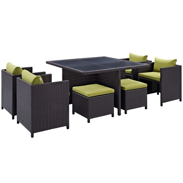 Inverse Peridot Fabric Synthetic Rattan 9pc Outdoor Patio Dining Set EEI-726-EXP-PER