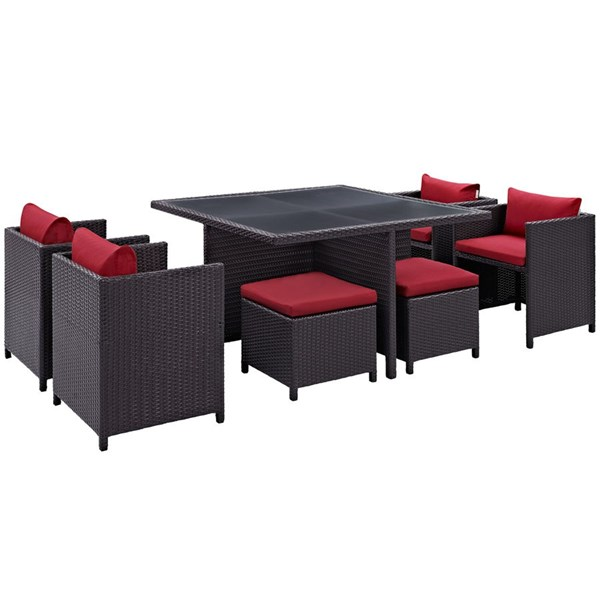 Inverse Red Fabric Synthetic Rattan 9pc Outdoor Patio Dining Set EEI-726-EXP-RED
