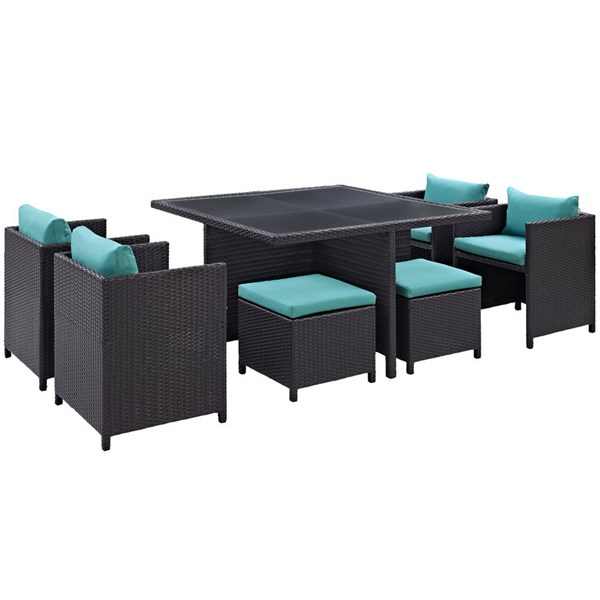 Inverse Turquoise Fabric Synthetic Rattan 9pc Outdoor Patio Dining Set EEI-726-EXP-TRQ