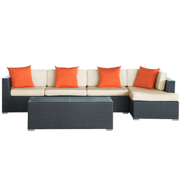 Espresso Rattan Weave With White Cushion Signal 5Pc Sectional Set EEI-728-SET
