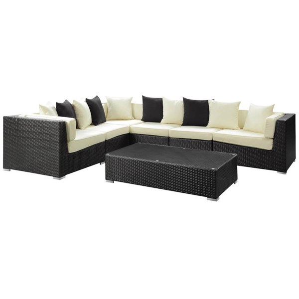 Lambid Espresso White Fabric Aluminum 7pc Outdoor Wicker Sectional Set EEI-730-SET