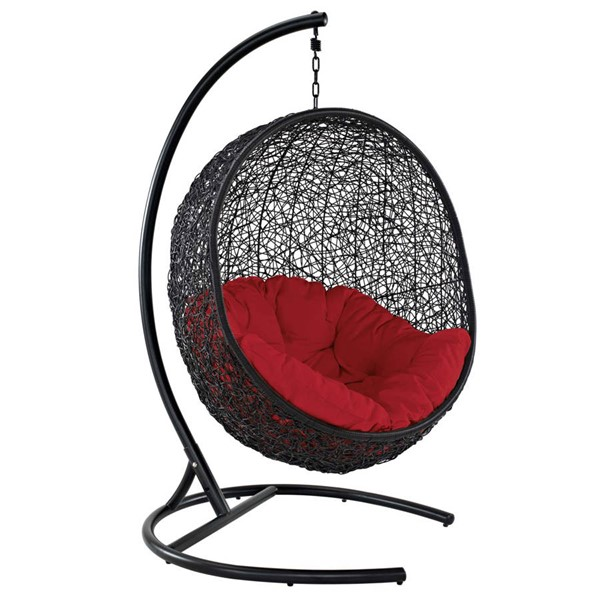 Modway Furniture Encase Red Swing Outdoor Patio Lounge Chair EEI-739-RED-SET