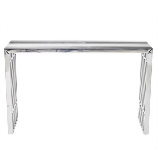 Gridiron Silver Stainless Steel Console Table EEI-779-SLV