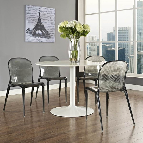 Black Acrylic Scape With White MDF Plywood Revolve Dinette Set EEI-789-785