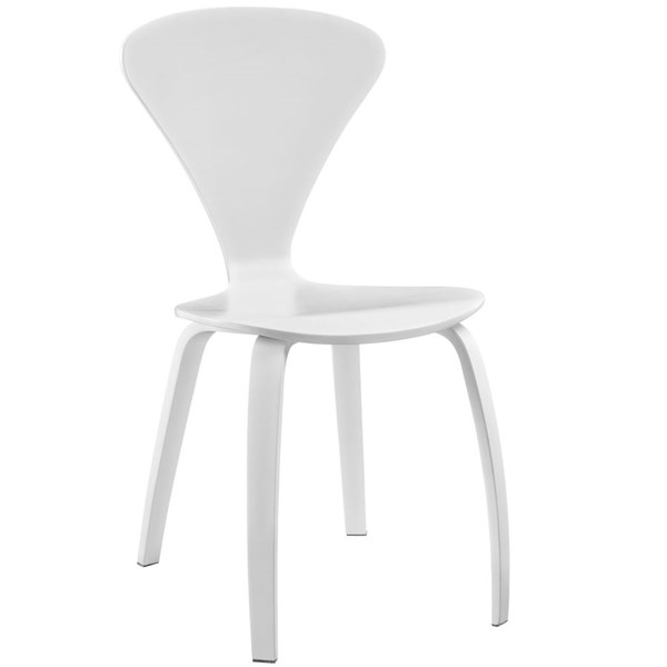 Vortex White Wood Solid Seat Dining Side Chair EEI-808-WHI