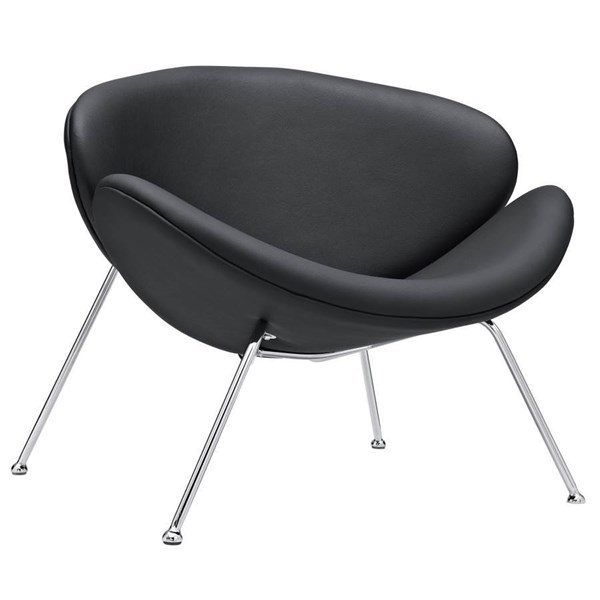 Nutshell Traditional Black PU Chrome Fabric Lounge Chair EEI-809-BLK