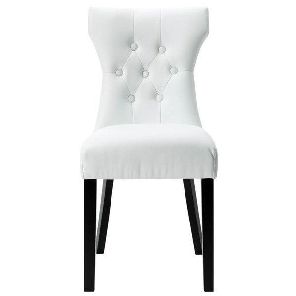 White Vinyl Upholstery With Black Wood Frame Silhouette Dinette Chair EEI-812-WHI