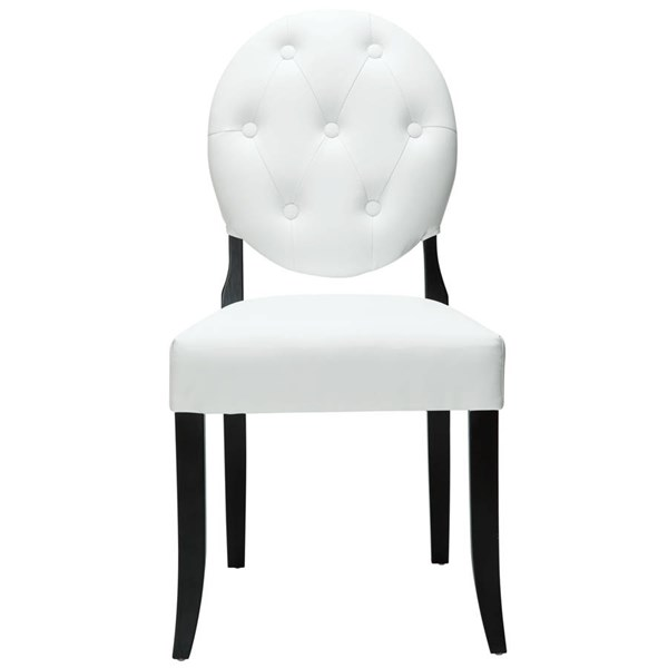 Modway Furniture Button White Vinyl Dining Side Chair EEI-815-WHI