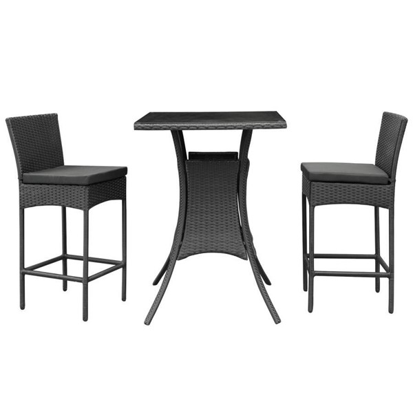 Modway Furniture Cerveza Black 3pc Pub Set EEI-835-BLK-BLK-SET