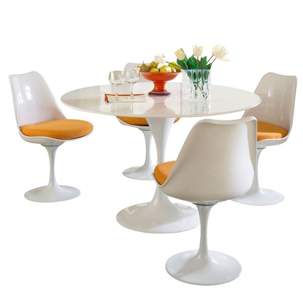 Modway Furniture Lippa Orange 5pc Fiberglass Dining Set EEI-854-ORA