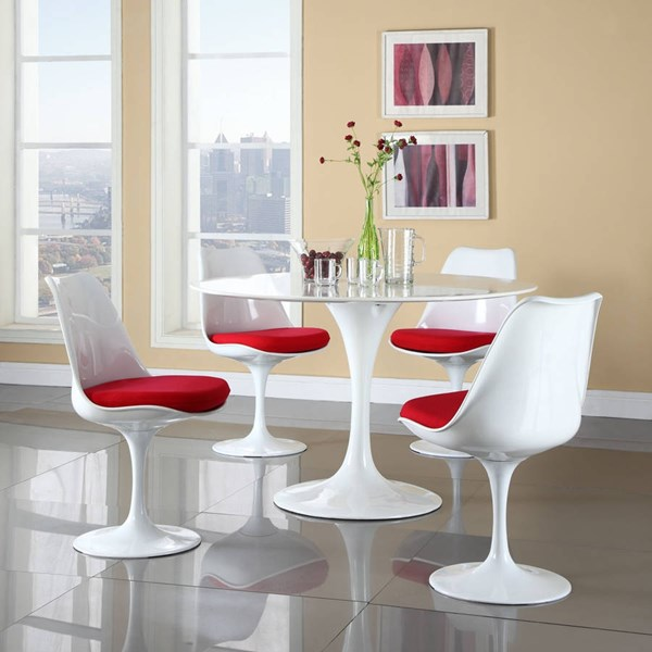 Modway Furniture Lippa Red 5pc Fiberglass Dining Set EEI-854-RED