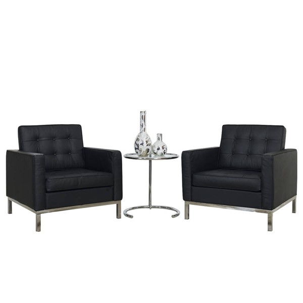 Modway Furniture Loft Leather 3pc Sofa Set EEI-859-BLK
