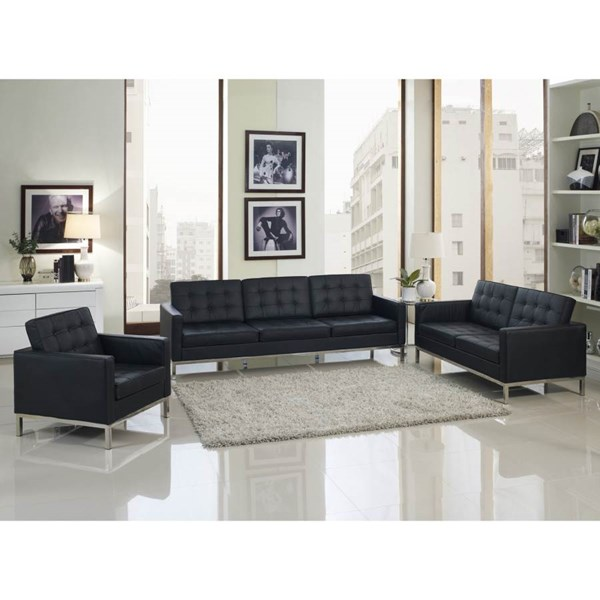 Loft classic black steel leather fabric wood pvc living for Leather and fabric living room sets