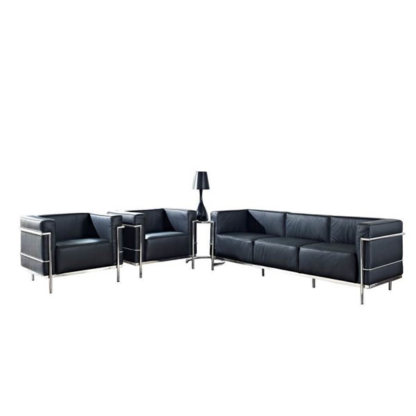 Black Leather W/Stainless Steel Frame LC3 4pc Living Room Set EEI-891