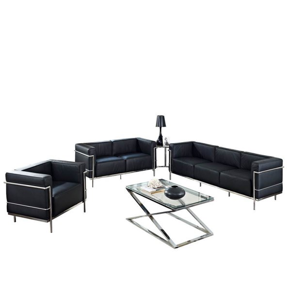 Black Leather W/Stainless Steel Frame LC3 4pc Living Room EEI-893