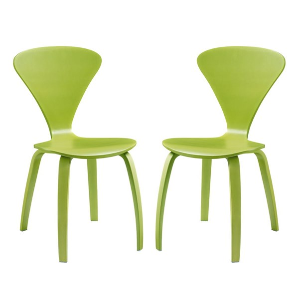 2 Vortex Green Wood Solid Seat Dining Chairs EEI-899-GRN
