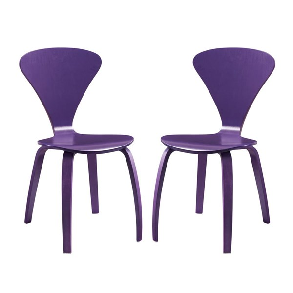 2 Vortex Purple Wood Solid Seat Dining Chairs EEI-899-PRP