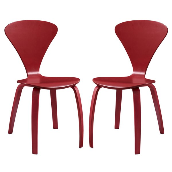 2 Vortex Red Wood Solid Seat Dining Chairs EEI-899-RED