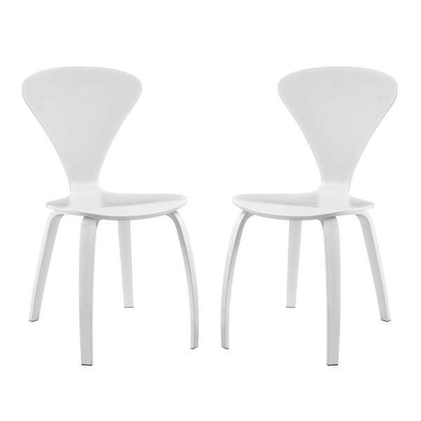 2 Vortex White Wood Solid Seat Dining Chairs EEI-899-WHI