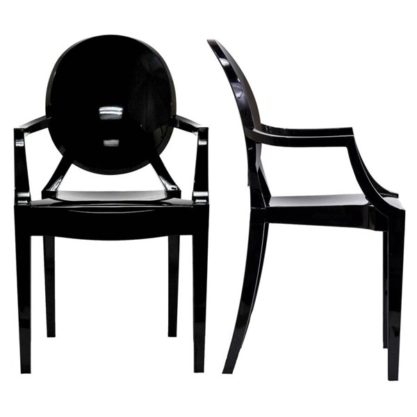 2 Modway Furniture Casper Black Dining Armchairs EEI-905-BLK